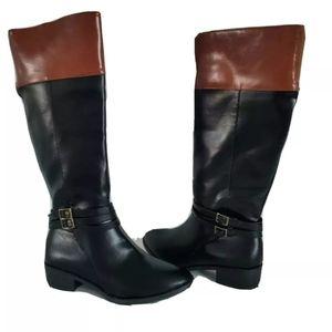 So newBlack leather knee high boots women sz 8